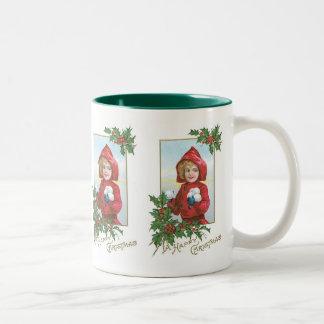 Happy Christmas Girl with Snowballs Two-Tone Mug