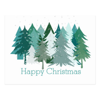 Happy Christmas Green Trees & Stars Canadian Postcard