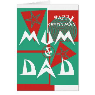Happy Christmas MUM & DAD Star Triangle circles Greeting Card