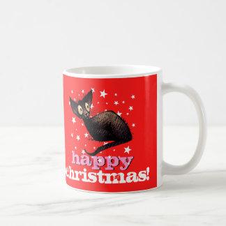 Happy Christmas Oriental Black Cat! Coffee Mug