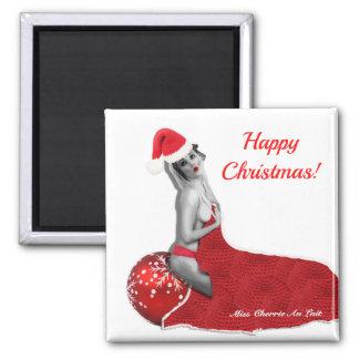 Happy Christmas Sexy Pinup Girl Santa Magnet Gift