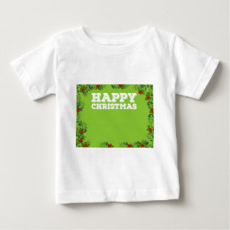 Happy Christmas sign with mistletoes Baby T-Shirt