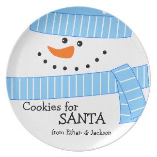 Happy Christmas Snowman Cookies for Santa Plate