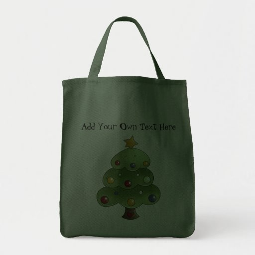 Happy Christmas Tree (Add Your Own Text) Tote Bag