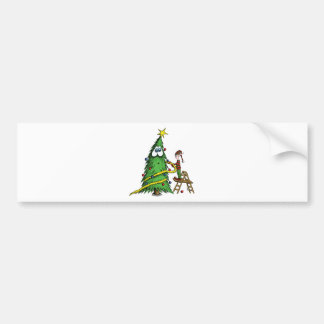 Happy Christmas Tree and Decorating Elf Bumper Stickers
