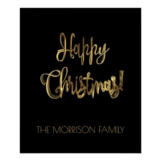 Happy Christmas Typography Black Gold Look Chic Poster