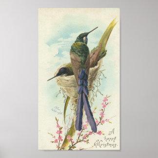 Happy Christmas Vintage Hummingbird Poster