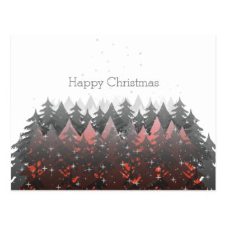 Happy Christmas White Red Grey Trees Stars Holiday Postcard