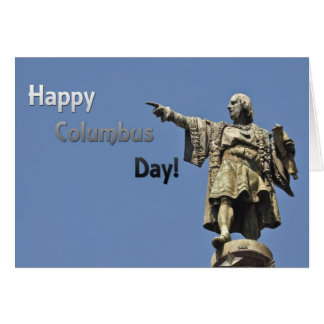 Happy Christopher Columbus Day Statue Card