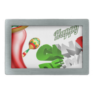 Happy Cinco De Mayo Chilli Pepper Design Belt Buckle