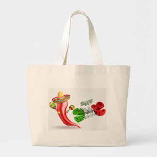 Happy Cinco De Mayo Chilli Pepper Design Large Tote Bag