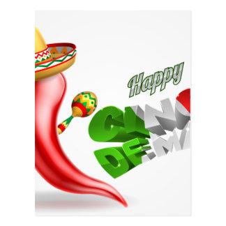 Happy Cinco De Mayo Chilli Pepper Design Postcard