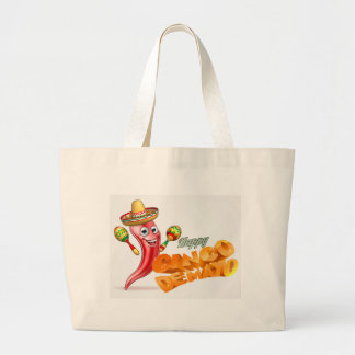 Happy Cinco De Mayo Chilli Pepper Mexican Design Large Tote Bag