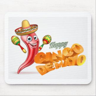 Happy Cinco De Mayo Chilli Pepper Mexican Design Mouse Pad