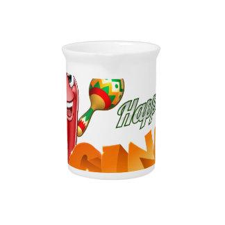 Happy Cinco De Mayo Chilli Pepper Mexican Design Pitcher