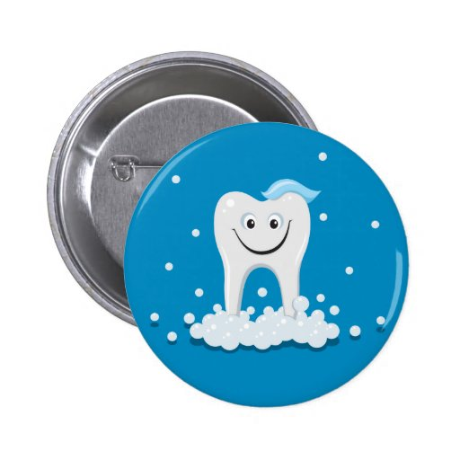 Happy clean tooth pinback button