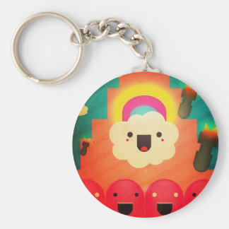 Happy Cloud Basic Round Button Key Ring