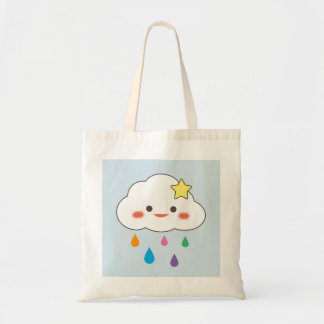 Happy Cloud & Rainbow Droplets Tote Bag