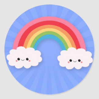Happy Clouds and Rainbow on Blue Starburst Stickers