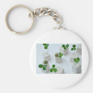 Happy Clover Basic Round Button Key Ring