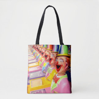 Happy Clown Faces Tote Shopping Bag.