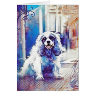 Happy Cocker Spaniel with Frame Card