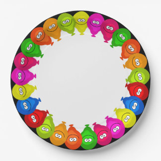 Happy Colorful Balloons Personalized Paper Plate