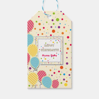 Happy Colorful Birthday Gift Tags