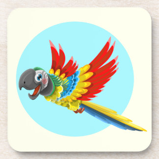 Happy colorful parrot cartoon kids coaster