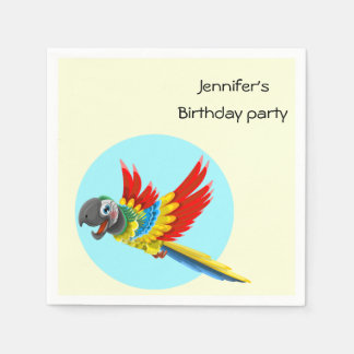 Happy colorful parrot cartoon kids name birthday paper napkin