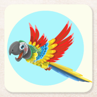 Happy colorful parrot cartoon kids square paper coaster