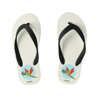 Happy colorful parrot cartoon name thongs