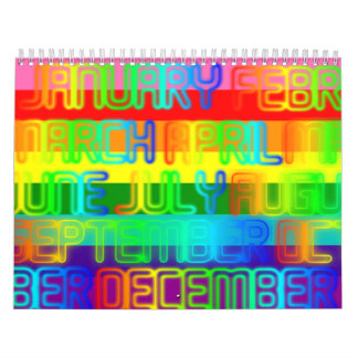 Happy Colorful Rainbow Colors Typography Wall Calendars