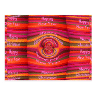 Happy Colors Merry Christmas Happy New Year  Desig Postcard