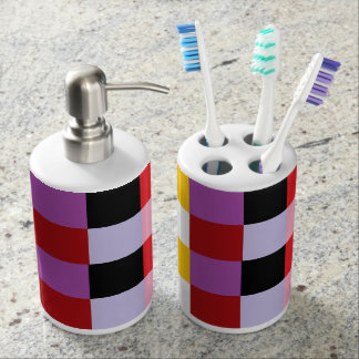 Happy Colors Pixel Squares Abstract Bathroom Set