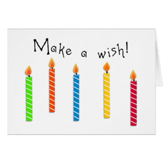 Happy Colourful Candles Birthday Wish Greeting Card