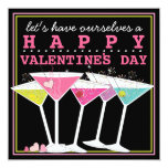 Happy Colourful Cocktails Valentines Day Party 13 Cm X 13 Cm Square Invitation Card