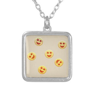 happy cookies faces silver plated necklace