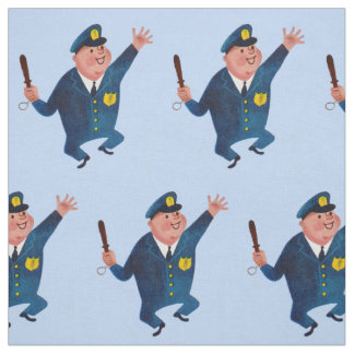 happy cop print fabric