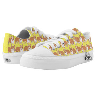 Happy Corgi Pattern Sunny Yellow Shoes Printed Shoes