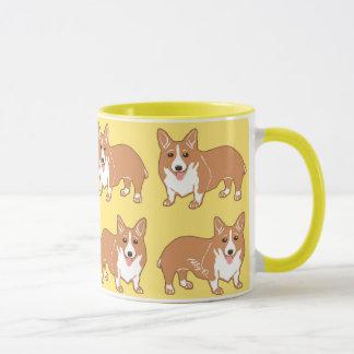 Happy Corgi Pattern Yellow Mug