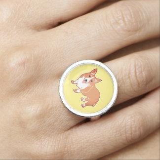 Happy Corgi Yellow Ring