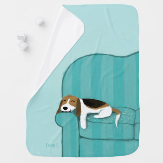 Happy Couch Beagle | Cute Dog Baby Blanket