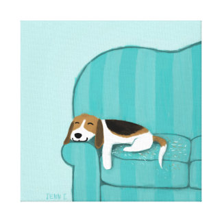 Happy Couch Beagle | Cute Dog Canvas Print