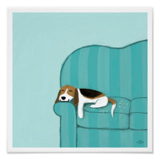 Happy Couch Beagle | Cute Dog Poster