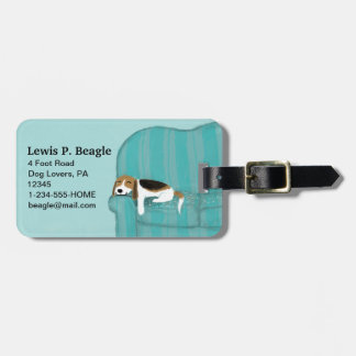 Happy Couch Beagle with Customizable Text Tag For Bags