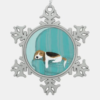 Happy Couch Dog - Cute Sleepy Beagle Snowflake Pewter Christmas Ornament