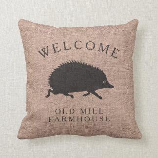 Happy Country Home Running Hedgehog Burlap Cushion