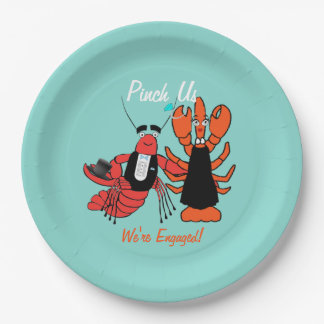 Happy Couple Engagement Crawfish Boil Party Plates 9 Inch Paper Plate
