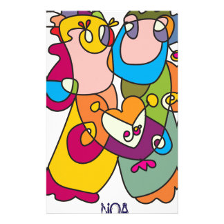 happy couple love friends naive art colorful stationery